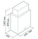 ΑΠΟΡ/ΡΑΣ LAGUNA ISOLA 90 (Y:75) T80 INOX/GLASS